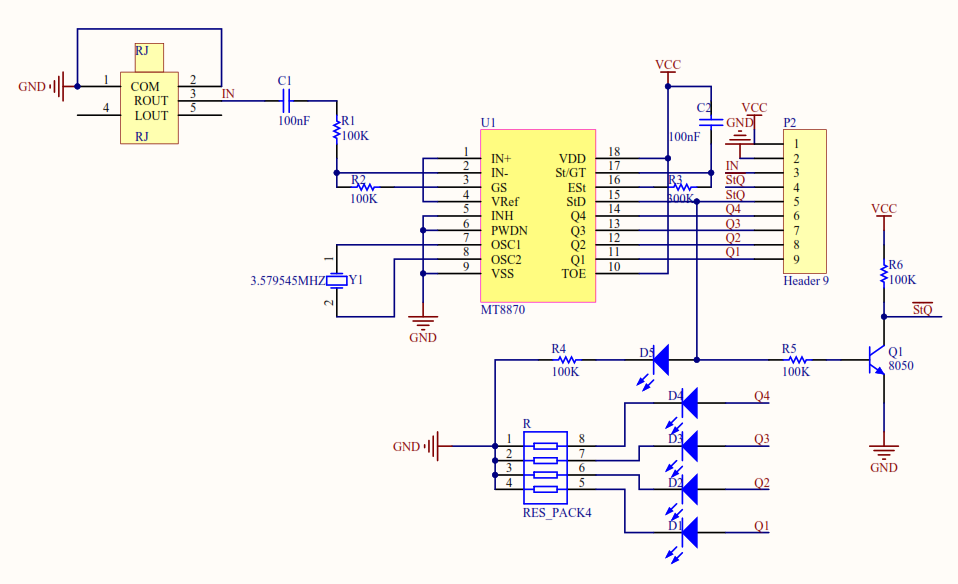 MT8870 DTMF Module Schematic